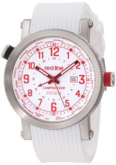 Men's Wrist Watches - red line Mens RL1800302RDWH Compressor World Time White Dial White Silicone Watch ** For more information, visit image link.