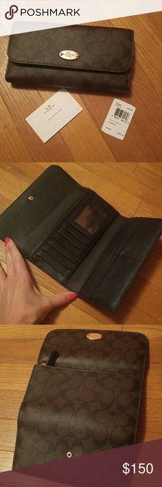 Coach checkbook wallet Nwt Brown & black Coach Bags Wallets