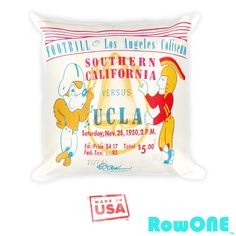 1950 USC vs. UCLA Retro Ticket Pillow by Row One. America's Best Sports Gifts #gottagetthis