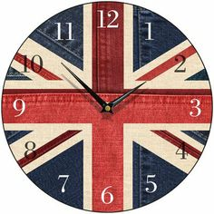 Amazon.com - Union Jack Denim Round Wall Clock - Union Jack Furniture