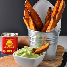 Smoky Sweet Potato Wedges With Avocado Aioli - Use this one simple trick to prevent fries from sticking to the pan! Serve these crispy sweet potato wedges with avocado aioli or chipotle mayo.