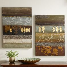 Juego de 2 Canvas Art Gold Leaf de Through the Door País ®