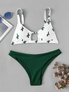 Shop Random Pattern Top With Cut-out Mix and Match Bikini online. SHEIN offers Random Pattern Top With Cut-out Mix and Match Bikini & more to fit your fashionable needs. Summer Bathing Suits, Cute Bathing Suits, Summer Suits, Push Up Bikini, Brasilianischer Bikini, Bikini Dress, Cute Swimsuits, Cute Bikinis, Women Swimsuits