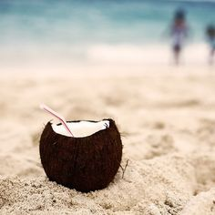 Sipping  on a Coconut.