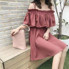 Summer new ladies new arrival loose loose thin behind the cross dress a word collar lotus sleeves in the long skirt two wear Source by hibasidqui dress korean Korea Fashion, Kpop Fashion, Cute Fashion, Asian Fashion, Girl Fashion, Fashion Dresses, Fashion Looks, Cute Skirt Outfits, Pretty Outfits
