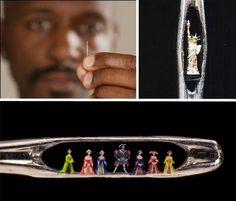 Micro-Sculptor Artist Willard Wigan , needle art . He paints them with his lash, between heartbeats. Incredible!
