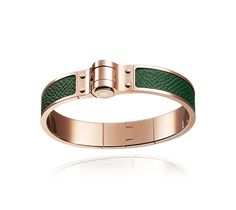 Charniere Cuir Fin Hermes narrow bracelet in epsom calfskin, rose gold plated… English Green
