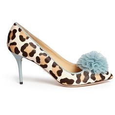 Charlotte Olympia 'Desirée' leopard print calf hair pumps ($955) ❤ liked on Polyvore featuring shoes, pumps, animal print, leopard print shoes, blue pumps, animal print shoes, bridal shoes and blue bride shoes