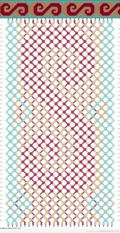 Diagrama, esquema o patrón para realizar pulsera de hilo con forma de ola y remolino