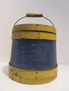 A FAVORITE SMALL ANTIQUE BAIL HANDLE FIRKIN, GREAT OLD BLUE & MUSTARD PAINT. Sold Ebay 300.00