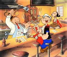 Betty Boop, Popeye The Sailor Man, Whimpy and Sweet Pea having lunch. Popeye Cartoon, Cartoon Tv, Cartoon Shows, Betty Boop, Classic Cartoon Characters, Classic Cartoons, Popeye And Olive, Vintage Cartoons, Popeye The Sailor Man