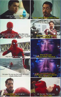 ) and Peter Parker/Spiderman (Tom Holland) Funny Marvel Memes, Dc Memes, Avengers Memes, Marvel Jokes, Marvel Dc Comics, Marvel Avengers, Tom Holland, Marvel Universe, Iron Man Capitan America