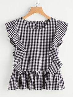 SheIn offers Gingham Frill Trim Blouse & more to fit your fashionable needs. Stylish Outfits, Kids Outfits, Cute Outfits, Fashion Outfits, Blouse Styles, Blouse Designs, Mode Chic, Outfit Trends, Gingham Dress