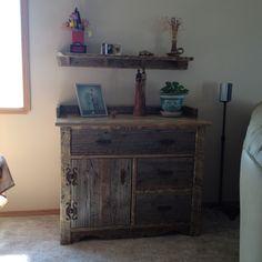 Barnwood cabinet and shelf