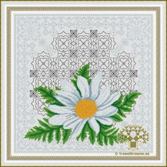 Thelastof 12 designs in the Azulejos Series:Daisy. It's a floral design with Blackwork and Petite stitch. Available as PDF file/Paper Chart.