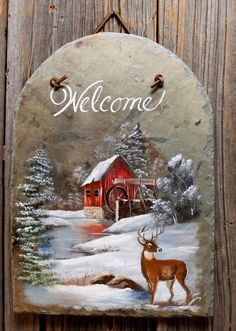 Winter Mill with Deer 13×9″