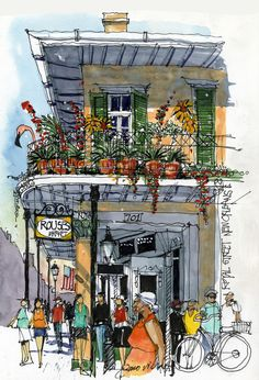 Ink sketch done from sidewalk on Royal Street, watercolor added in studio. This venerable grocery, with an apartment on the second floor, is a reminder that the French Quarter is, first and foremost, a neighborhood.