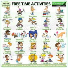 Leisure Activities in English - Free Time Activities - Woodward English English Activities, Vocabulary Activities, Time Activities, Teaching English, Learn English, English Test, Teaching Spanish, Learn French, Woodward English