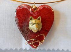 Handmade Pendant 3D Wolf Head on Heart 14kt by DeanasQuiltsandMore, $20.00