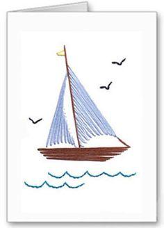 Sail boat stitching card pattern