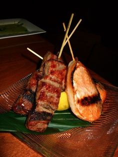 Gyu Hire Yaki (Angus Beef Fillet Mignon) + on the right, Namajake Sumiyaki (fresh Salmon Fillets wrapped with bacon) from Hana Zen