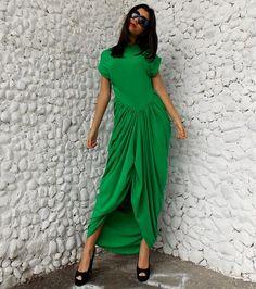 Maxi Green Dress / Loose Long Dress / Plus Size Long by Teyxo, $82.00