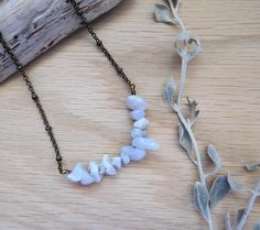 Chalcedony chips, antiqued bronze chain, boho necklace, layering necklace, FREE Shipping by kathywelshart on Etsy