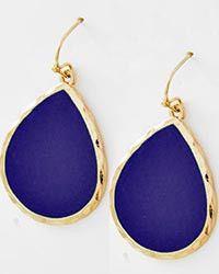 Royal Blue Tear Drop Earrings from Vanett $10