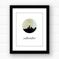 Milwaukee wall art | giclee print. Milwaukee skyline art featuring the Milwaukee skyline and a vintage Milwaukee map. Printed using archival quality inks on fine art paper, this print is guaranteed not to fade before you do! Available in 5x7, 8x10, and 11x14. PLEASE NOTE - the black frame around the display photo will not be included - this listing is for an unmatted, unframed print only.