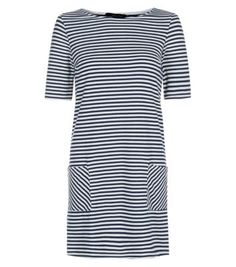 Monochrome Stripe Pocket Tunic Dress v