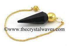 Black Tourmaline Faceted Gold Modular Pendulum