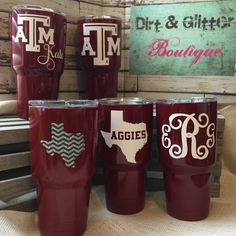 Custom Powder Coated YETI Rambler Gig'em by DirtnGlitterBoutique Aggie Game, Aggie Football, Custom Yeti, Yeti Cooler, Yeti Decals, Yeti Cup, Texas A&m, Cup Design, Have Time
