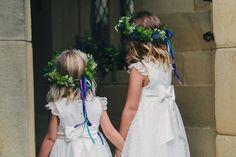 Flower Girls and their crowns - created by The Flower Mill - www.theflowermilldraycott.co.uk