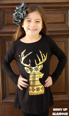 Kids Run, Run Rudolph Piko Top with Gold Foiled Christmas Patterned Deer in Black www.gugonline.com $19.95