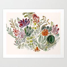 Succulents  Art Print by Hannah Margaret Illustrations -