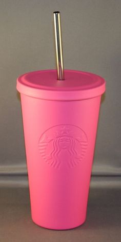 2015 starbucks matte hot pink stainless steel cold grande siren tumbler NWT  #Starbucks