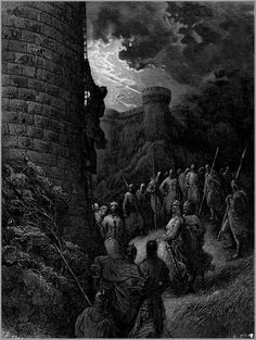 Bohemond alone mounts the rampart of antioch crusades bohemond mounts rampart of antioch - Gustave Dore