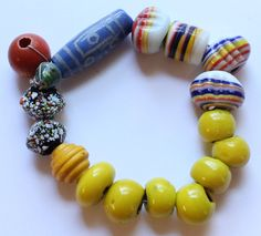 Vintage African Trade Bead Bracelet by paststore on Etsy