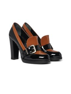 Black and brown lacquer high heels