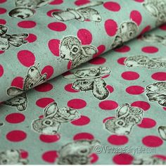 Joli Pomme Rabbits Fuchsia Dots on Gray | Vintage Fairytale Fabrics