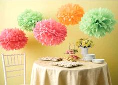 Show Martha Stewart your best summer crafts for a chance to win a Martha Stewart Crafts Butterfly Tissue Paper Pom-Pom Kit. Pom Pom Decorations, Party Decoration, Wedding Decorations, Paper Decorations, Decor Wedding, Paper Flower Ball, Tissue Paper Flowers, Paper Poms, Paper Flowers