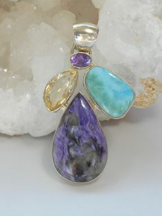 Larimar Pendant with Amethyst, Citrine, and Charoite
