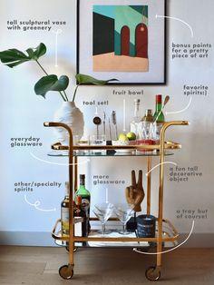 Home Bar Decor, Bar Cart Decor, Bar Cart Styling, Diy Bar Cart, Style At Home, Kitsch, Drink Cart, Beverage Cart, Drinks Trolley