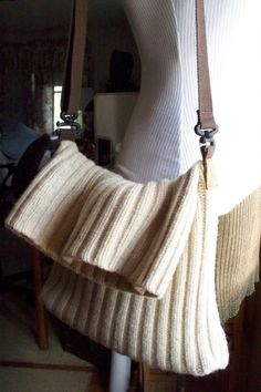 Recycled Wool Sweater Messenger Bag Purse by LazyTcrochet on Etsy