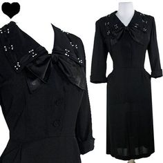 Vintage 40s WWII Black RAYON Crepe Cocktail Party Dress L XL Film Noir Swing Bow PinupDresses.com PinupDresses