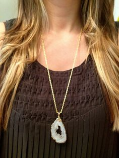 Gold Dipped Geode Necklace by elladolce on Etsy, $32.00