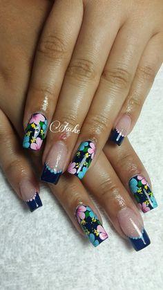 Uñas Cute Nails, Pretty Nails, My Nails, Teal Flowers, Purple Teal, Flower Nails, Gorgeous Nails, Nail Arts, Nail Inspo