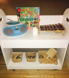 Music shelves for a toddler from SimplyNaturalMom.com