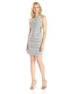 Women's Sleeveless Side Gathered Dress with Zipper, Ivory/Black  http://www.amazon.com/dp/B011C99C1A/ref=cm_sw_r_pi_dp_XZK.vb13T8VV8