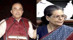 Subramaniam Swamy (left) linked Sonia Gandhi to the Agusta Westland chopper deal in the Rajya Sabha - See more at: http://indianexpress.com/article/india/india-news-india/subramaniam-swamy-links-sonia-with-agusta-westland-deal-congress-is-enraged-2772628/#sthash.ALwJ11Bo.dpuf